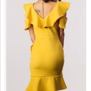 Cold Shoulder Ruffle Mustard Yellow Dress